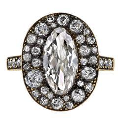 1.93 Moval Cut Diamond Oxidized Gold Cobblestone Ring