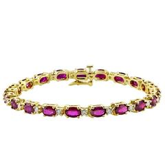 Oval Ruby Diamond Gold Bracelet