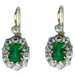Antique Emerald Diamond Silver Gold Pair of Earrings
