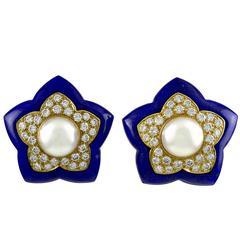Van Cleef & Arpels Lapis Diamond Gold Flower Earclips