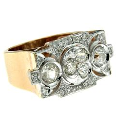Art Deco Style Diamond Gold Ring