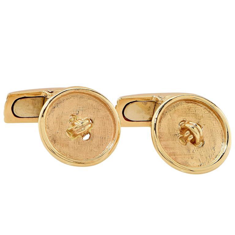 Yellow Gold Button Cufflinks