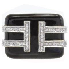 Diamonds Enamel Yellow Gold and Platinum Ring