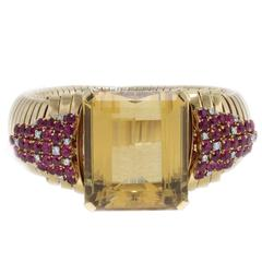 Luise Diamonds Rubies Yellow Topaz Two-Color Gold Bracelet