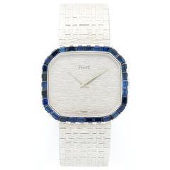 Piaget White Gold Baguette Sapphire Bracelet Manual Wind Wristwatch