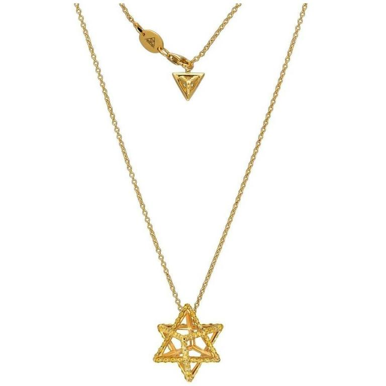 Merkaba Star Fancy Yellow Diamond Gold Pendant Necklace