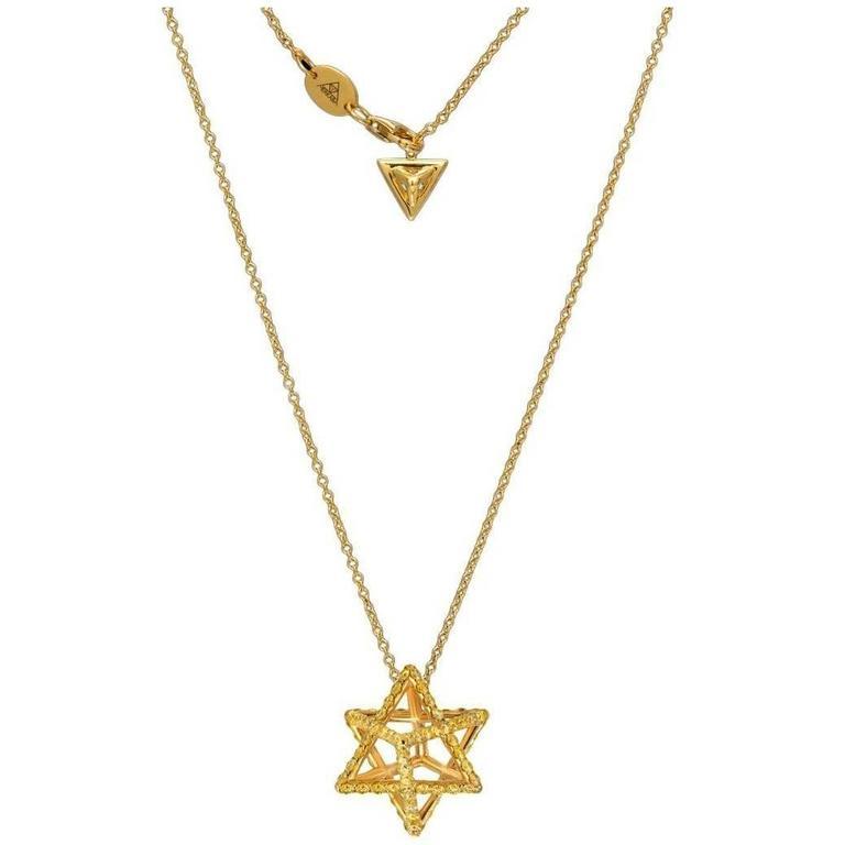 Merkaba Star Fancy Yellow Diamond Gold Pendant Necklace For Sale