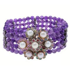 Amethyst Precious Stones and Pearls Gold and Silver Bracelet