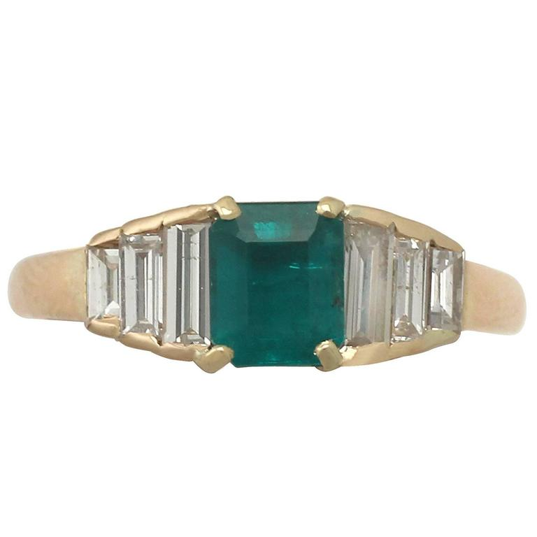 1999 Emerald and Diamond Yellow Gold Cocktail Ring 1