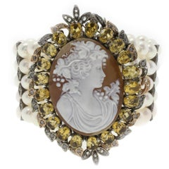 Pearls Diamond Topaz and Cameo Gold and Silver Bracelet