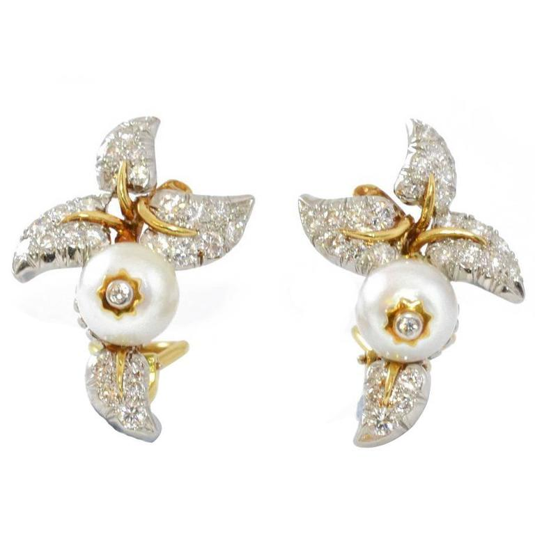 1940s Tiffany & Co. Schlumberger Pearl Diamond Gold Earrings For Sale