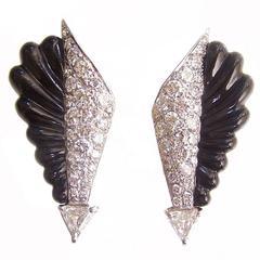 Art Deco Onyx diamond pave Arrow Earrings