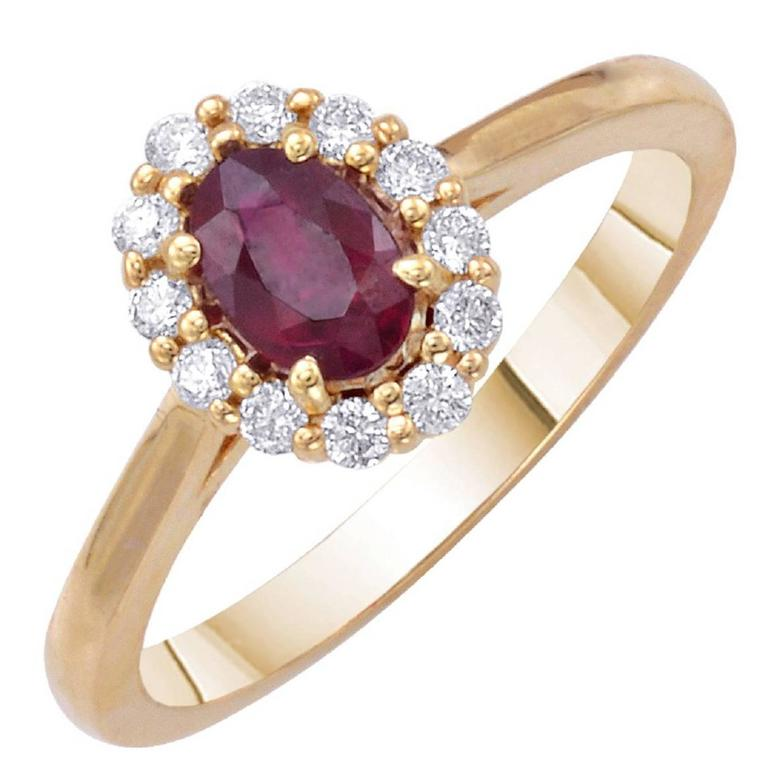 Oval Ruby Diamond Engagement Halo Ring 0.70 Carat