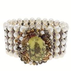 Pearl Diamond Ruby Semiprecious Silver Gold Bracelet