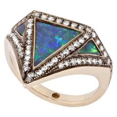 18K Grey Gold Vedra Pinky Ring with Black Opal and White Diamonds