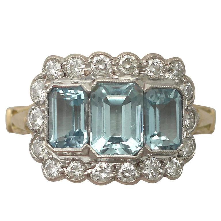 1970s 2.23 Carat Aquamarine Diamond Gold Cocktail Ring