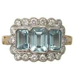 1970s 2.23 Carat Aquamarine Diamond Gold Cocktail Ring
