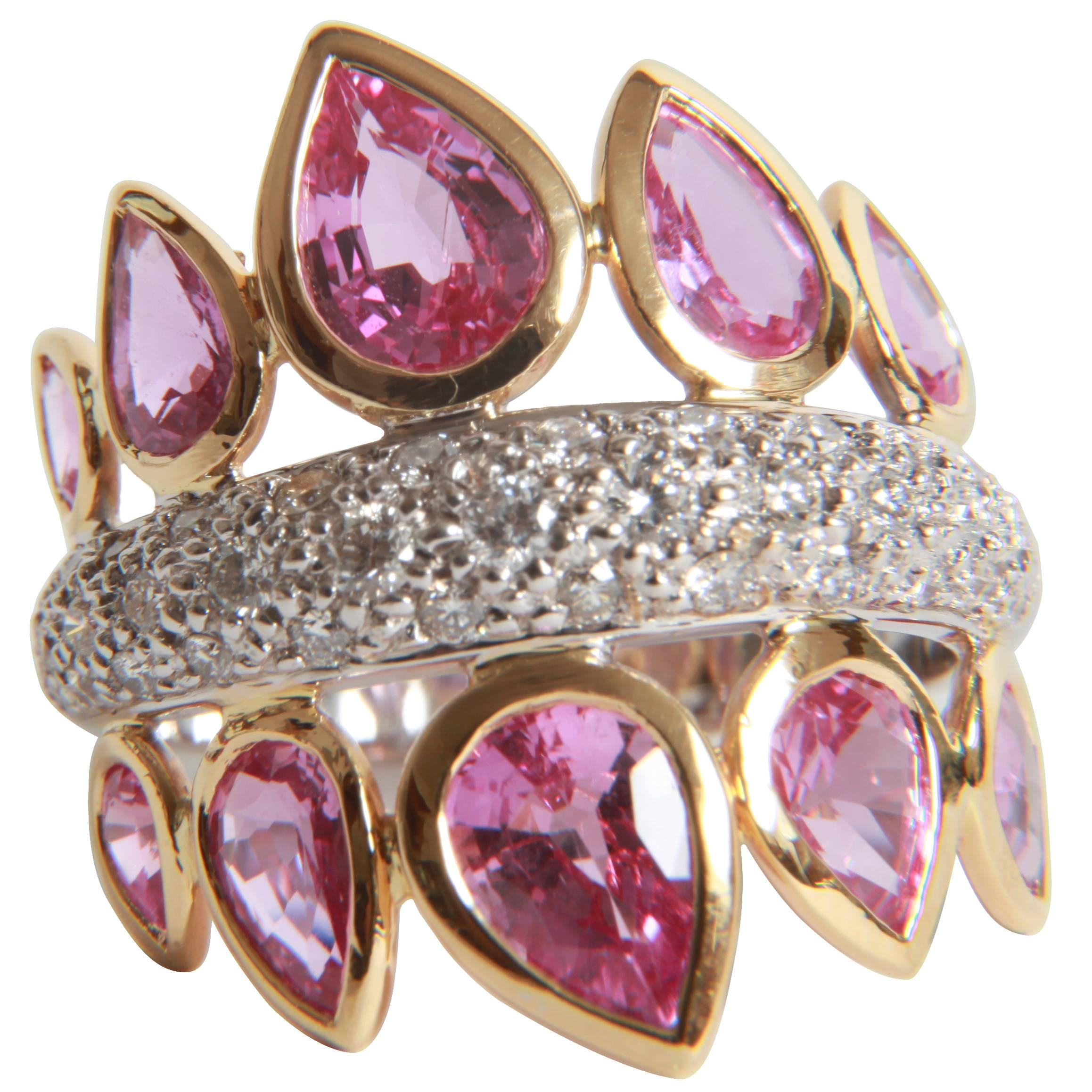 4,74 Carats Pink Sapphires and 1 Carat White Diamonds Ring by Marion Jeantet