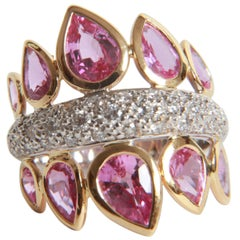 Pink Sapphires and White Diamonds Ring by Marion Jeantet