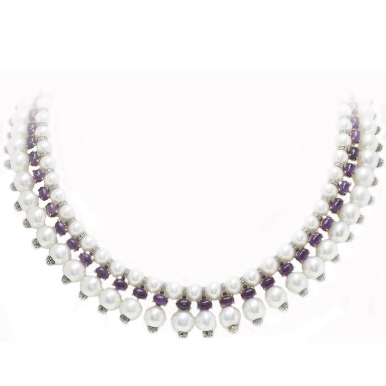 Pearl Amethyst Diamond Rose Gold Silver Necklace