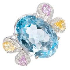 22.00 Carat Topaz Sapphire Diamond Gold Cocktail Ring