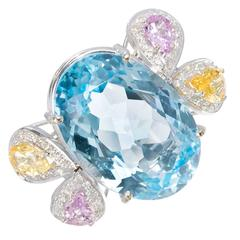 25.00 Carat Topaz Sapphire Diamond Gold Ring