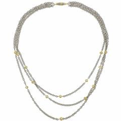 Buccellati Gold Three Strand Diamond Station Necklace