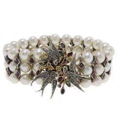 1980s  Pearl  Ruby Sapphire Emerald Diamond Silver Gold Bracelet