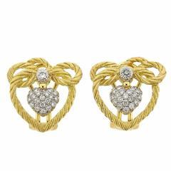 Buccellati Gold Diamond Heart Bow Earrings
