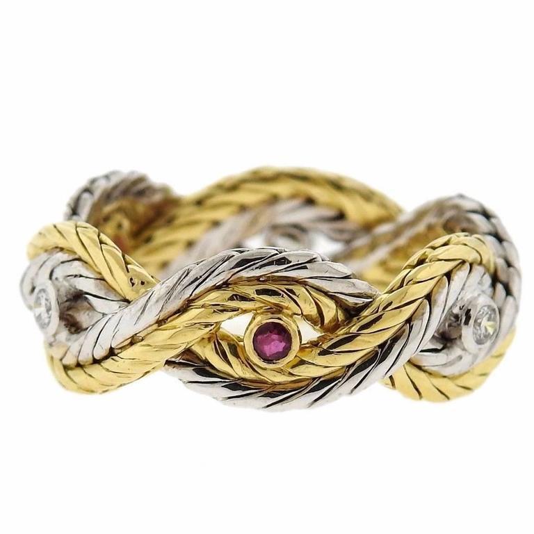 Buccellati Ruby Diamond Gold Braided Band Ring