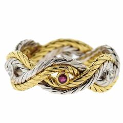 Buccellati Ruby Diamond Gold Braided Band Ring