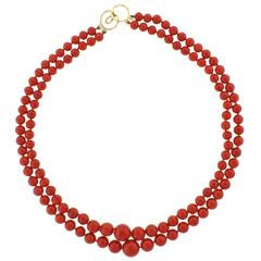 Ox Blood Coral Double Strand Necklace