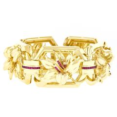 Fabulous Retro Ruby and Gold Bracelet