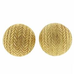 Buccellati Engraved Gold Button Earrings