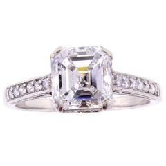 2.51 carat G.I.A. Asscher Cut Diamond platinum Solitaire Ring