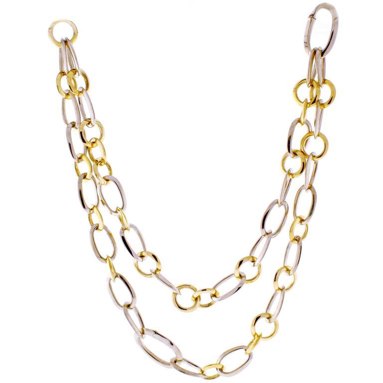 Pomellato Two Color Gold Link Necklace Bracelet Combination