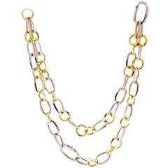 Pomellato Two Color Gold Link Necklace Bracelet Combination