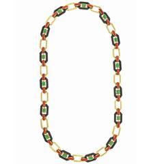 Art Deco Jade Onyx Coral Gold Necklace Bracelet Combination
