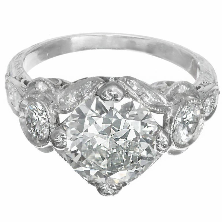 GIA Certified 2.59 Carat Art Deco Diamond Open Work Platinum Engagement Ring