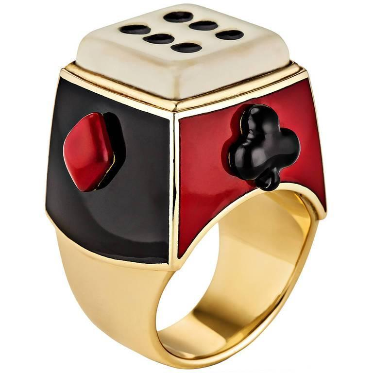 Solange Azagury-Partridge Enamel Gold Gaming RIng 1