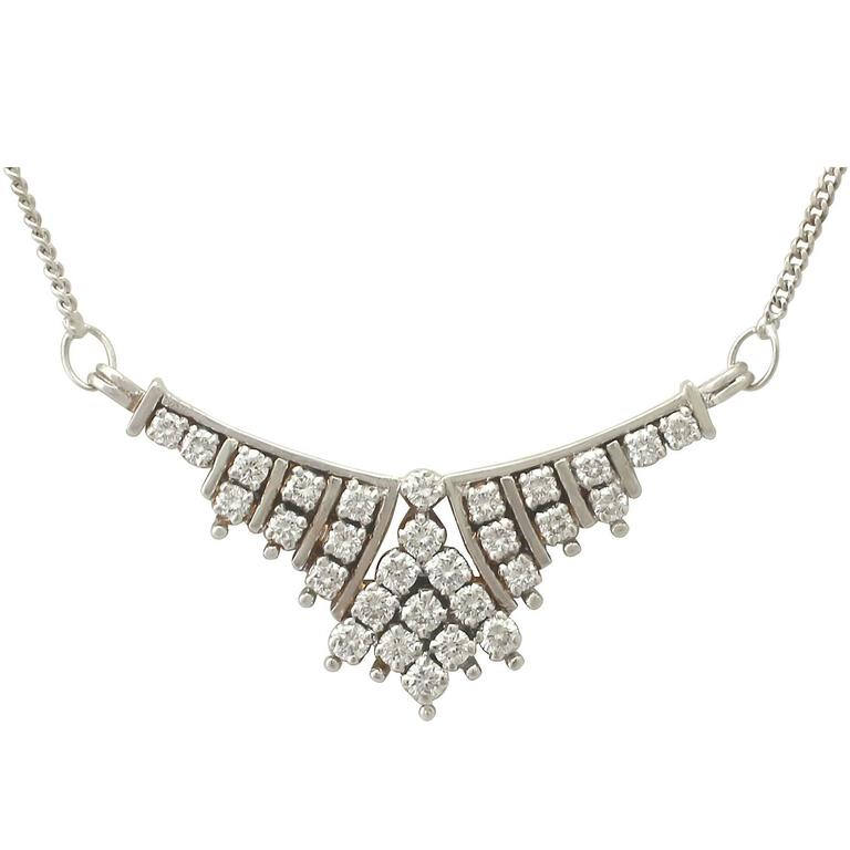 1.02 Carat Diamond and White Gold Necklace