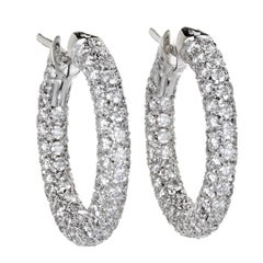 2.50 Carat Pave Diamond White Gold Hoop Earrings
