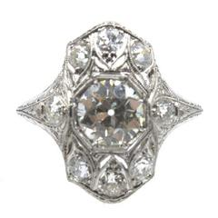 Art Deco Old European Cut Diamond Platinum Filigree Engagement Ring