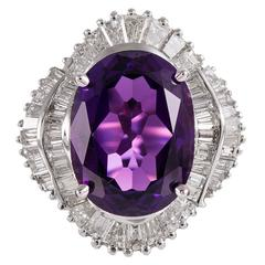 10.83 Carat Amethyst Diamond gold Ballerina Ring