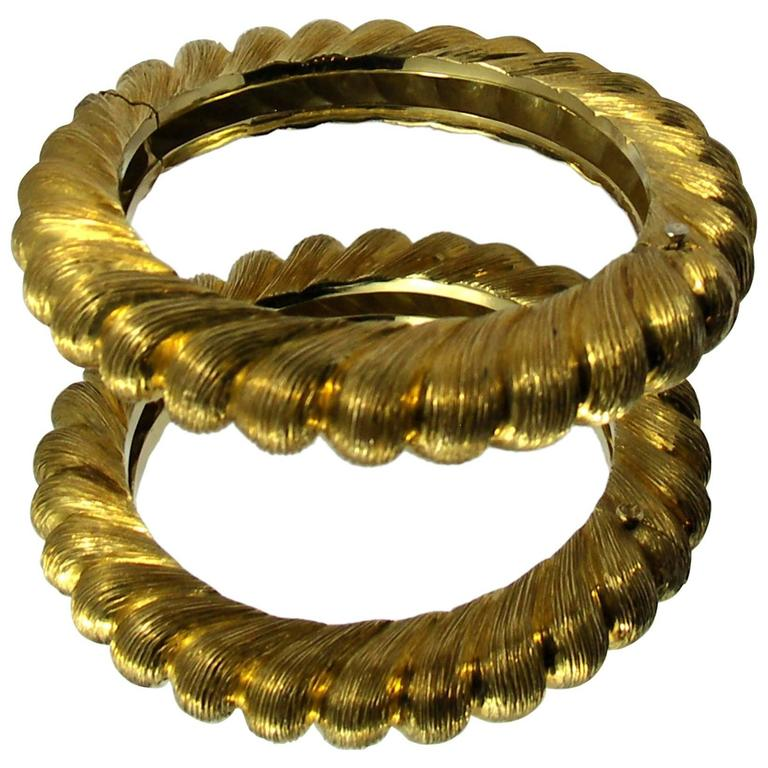 Pair of Tiffany & Co. Gold Rope bangle Bracelets