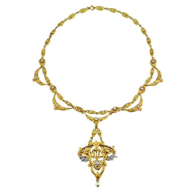 Art Nouveau Diamond Yellow Gold Necklace