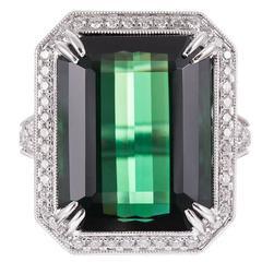 13.22 Carat Tourmaline Ring with Diamonds