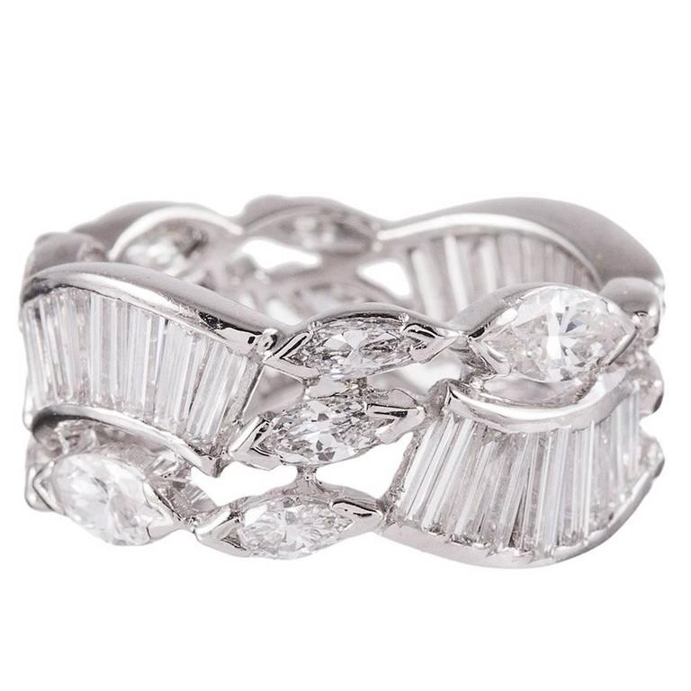 3.10 Carats Marquise and Baguette Diamonds platinum Eternity Band Ring