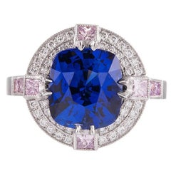 4.33 Carat Sapphire Pink and White Diamond Platinum Ring
