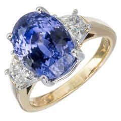 7.75 Carat Blue Sapphire Diamond Gold Three-Stone Engagement Ring